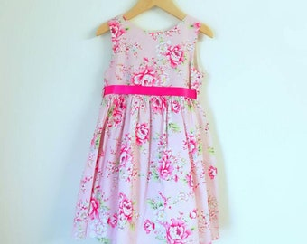 Handmade pale pink flower print cotton handmade summer dress aged 5yrs by Mojosewsew.