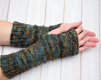 Hand knit mittens Fingerless gloves Wool arm warmers Women's wrist warmers Texting gloves Gift for her