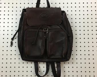 Vintage brown leather backpack small rucksack