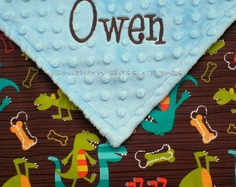 Personalized Baby Boy Blanket , Minky and Dino Dudes Blanket for Baby Boy - Stroller Blanket 30x40