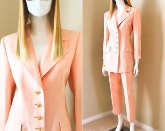 90's William Pearson Luxe Summer Pant Suit, Peach Linen Structured Jacket w Cropped Pants, Classic 2-Piece Pant Suit-size 8