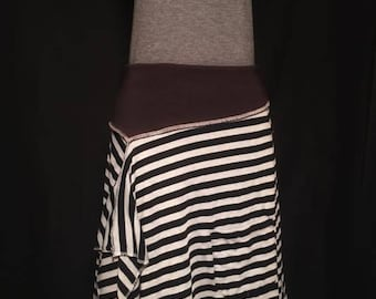 Black and gray up cycled skirt.