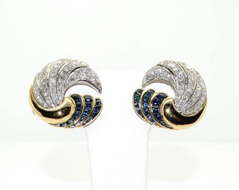 Vintage 1950's earrings - diamonds and sapphires