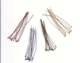 "40 Thin 2"" Long Ball Headpins Findings Metal Medley"