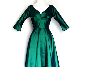 Emerald Green Taffeta Evening Dress - Knee Length - by Dig For Victory