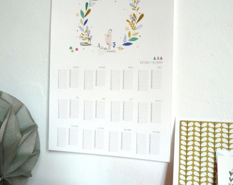 Printable Birthdays Calendar - Poster size A3 - instant download calendar - illustration of bird - Printable calendar