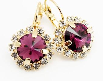 Amethyst Earrings Gold, Rhinestone Swarovski Earrings, Eggplant Purple Statement Luxury Jewelry, Bridal Bridesmaids Purple Eggplant Jewelry
