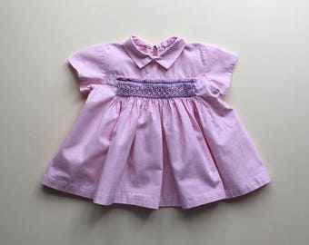 Pink gingham dress with smocks - 0/3m