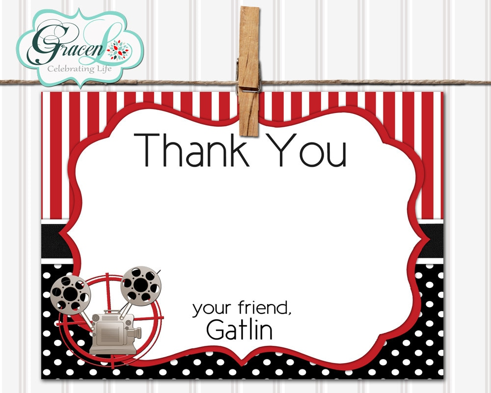 Movie thank you card movie night thank you card birthday zoom kristyandbryce Images