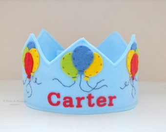Birthday Crown, Wool Felt Crown, Balloons, Party Hat, First Birthday, Personalized, Smash Cake
