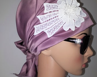Dark Pink with Small Flower Everyday Headcover Scarf Tichel Turban Wrap