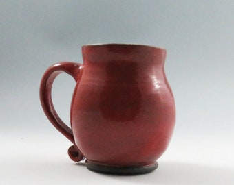 Red Pottery Mug,Unique Ceramic Mugs,Red Ceramic Mugs,Handmade,Ready to Ship,Red Kitchen Decor,Funky Pottery Mugs,Soul Shine Pottery,Tea Mug