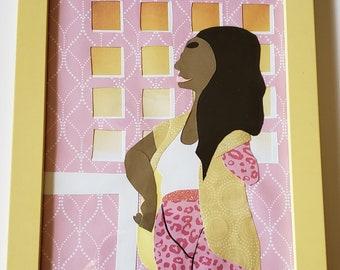 Strawberry Lemonade:Lazy Sunday-Framed Original Paper Craft Illustration