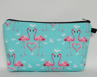 Make-Up Bag, Flamingo Heart Design Make-Up Bag, Zipper Clutch, Zipper Pouch, Cosmetics Bag, Travel Bag, Ladies Gifts