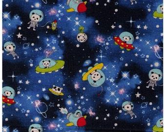 HALF YARD - Kobayashi - Pandas in Space - 85/15 Cotton/Linen Blend - Rocket, UFO, Spaceship, Stars, Project by Cotton - Japanese Import