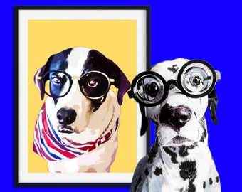 Custom Pet portrait Custom Pet Painting Custom dog portrait Pop art Painting Original Painting Personalized Pet Portrait Art Collectibles