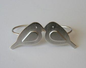 Two Finger RIng, Silver Love Birds Ring, Love BIrd Jewelry, SIlver Bird Jewelry, Statement RIng, Metalwork, Modern Design RIng, Modern Style