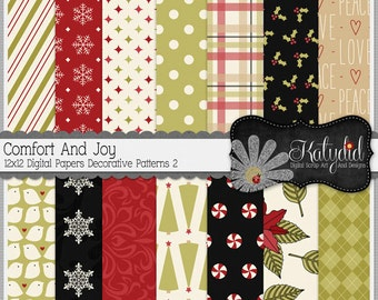 Christmas Digital Paper Comfort And Joy Digital 12x12 Patterns 2 Holiday Seasonal Papers and Backgrounds for INSTANT DOWNLOAD