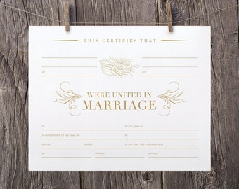 Marriage certificate etsy 8x10 printable marriage certificate blank gold marriage certificate template gold wedding keepsake marriage certificate yadclub Image collections