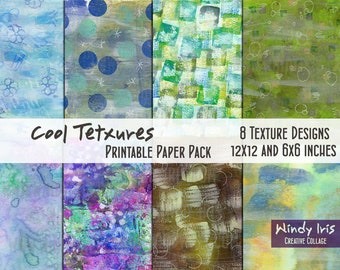 Cool Textures Printable Paper Pack of 8x Colorful Papers 6x6 Inch and 12x12 Inch, Digital Papers and Collage Backgrounds by Windy Iris