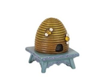 Miniature Garden - Beehive on Stool - Miniature Fairy Garden Supplies