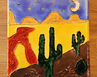 Unique Naive Painting on Canvas, Mixed Media Painting, Pebeo Painting, Desert Scene