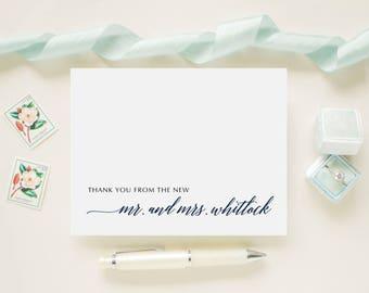 Custom Color Personalized Newlywed Wedding Thank You Cards,  Bridal Shower,  Wedding Cards - Wedding Monogram Thank You