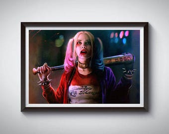 Harley Quinn Inspired Art Poster Print, Harley Quinn Movie Poster