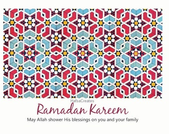 Printable Ramadan Card, DIY Islamic Cards, Muslim Cards, islamic art pattern, Digital card, Eid Ul-Fitr, Ramdan