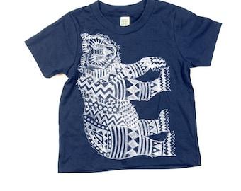 Kids Bear Tshirt  - Eco-Friendly - Organic - Navy Blue -Toddler - Small, Medium, Large - Boy - Girl