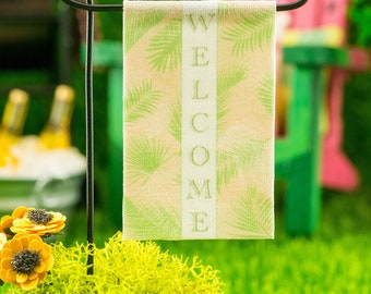 Miniature Welcome Palm Fronds Garden Flag - 1:12 Dollhouse Miniature