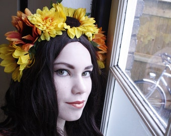 Sunflower fantasy flower crown headpiece