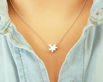 Sterling Silver Puzzle Piece Necklace, Gold Puzzle Necklace, Dainty  Necklace, Minimalist Necklace, 925 Silver Necklace