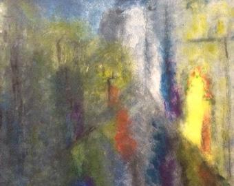 Impressionist Acrylic Painting - Original and Print -Rainy Cityscape- Wall Art