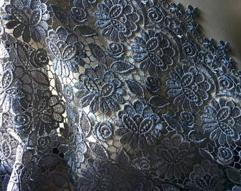 Pewter Gray Lace Venise Guipure for Grad, Bridal, Mother of the Bride, Skirts, Costumes