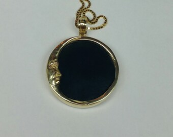Moon and night pendant with black onyx