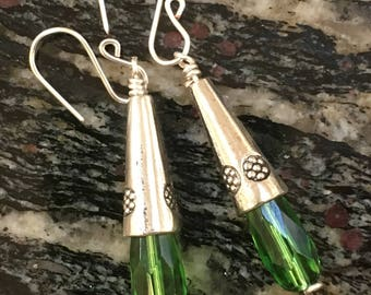 Green bead earrings with faceted long green glass and metal