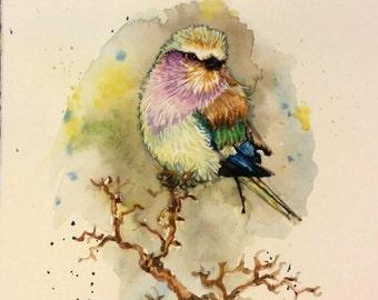 "Original Watercolor Painting print, lilac bird II, 10""x8"", 1612124"