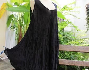L-XL Sleeveless Cotton Top/ Short Tunic - Black