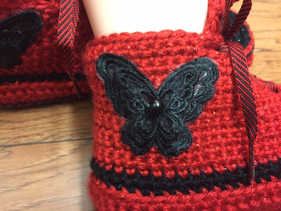 7 shoes sneakers butterfly crocheted slippers slippers Crocheted crochet shoes sneaker slippers tennis 9 butterfly red tennis shoes Womens nxqx8Fa641