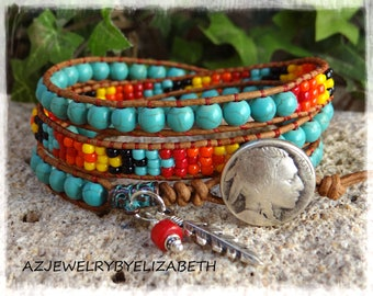 Beaded Wrap Bracelet/ Native American-Inspired Triple Wrap Turquoise Bracelet/ Seed Bead Leather Wrap Bracelet/ Boho Wrap Bracelet.
