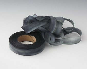 Silk Ribbon, Hand dyed silk ribbon bias-cut
