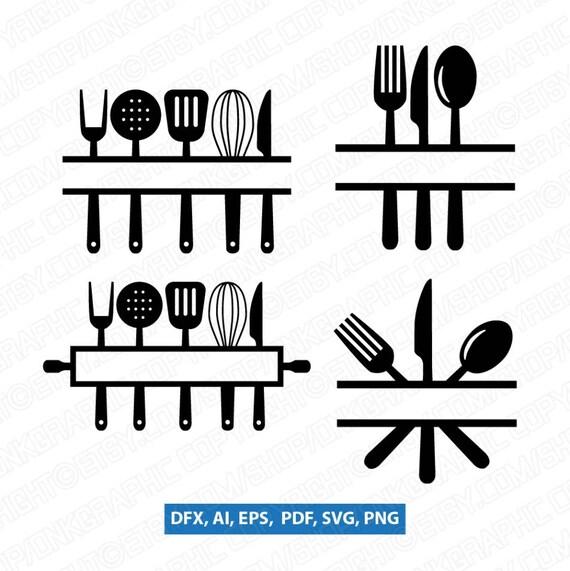 Kitchen Utensils Split Monogram Frame Spoon Fork Knife