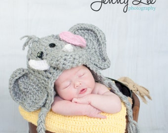 Girl Elephant Hat Photo Prop - Baby Elephant Hat with Bow Clip  - Infant Halloween Costume - by JoJo's Bootique
