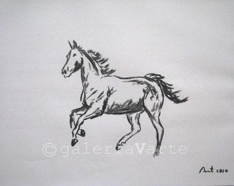original charcoal drawing  -  equestrian - europeanstreetteam