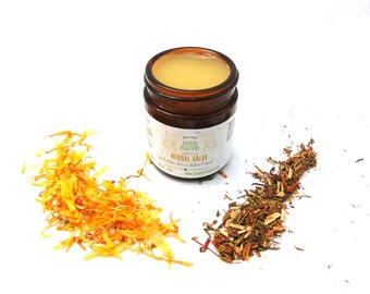 Herbal Salve with St. John's Worts, Plantain, Calendula, Chickweed, All Natural, Healing Herbs, Great of Minor Cuts, Burns