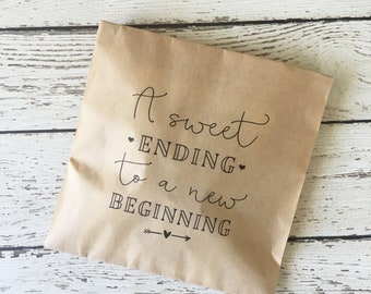 Wedding Favor Bag, Wedding Treat Bag , A sweet ending to new beginning Wedding Favor Bag, Set of 10, 25, 50