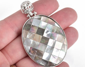 1 Gray Iridescent ABALONE SHELL PENDANT Oval silver bail chs4408
