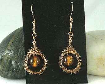 Amber Woven Wire Earrings - Celtic Knotwork