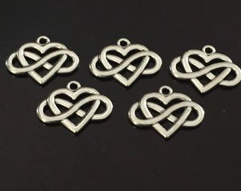 5 PC Heart and Infinity Charm-Endless Love Charms-Antique Silver Charms